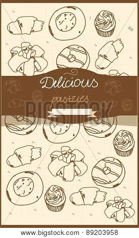 background with contour pastries muffins bagels muffins and inscription delicious pastries