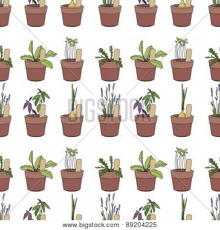 Seamless pattern with herbs and vegetables in flower pots. Endless texture. Simple soft colors, contour.