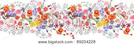 Seamless pattern brush. Bunch of field flowers. Vintage style.