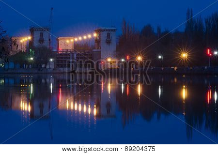 Evening View On Second Lock Of Volga-don Canal Named After Lenin, Volgograd
