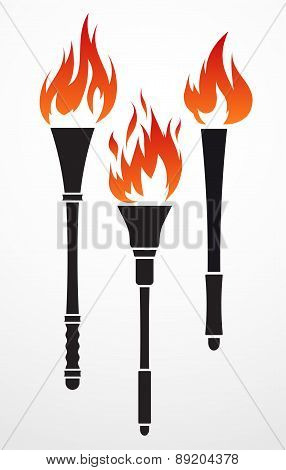 Set of 3 vector torches for your design.