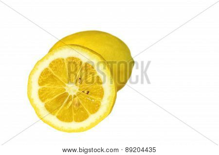 One and half lemon isolated on white background