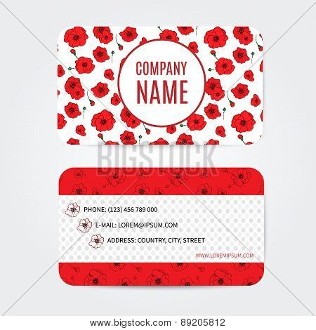flowers business cards set