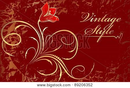 Abstract Red Background With Flower.