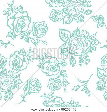 seamless pattern blue rose