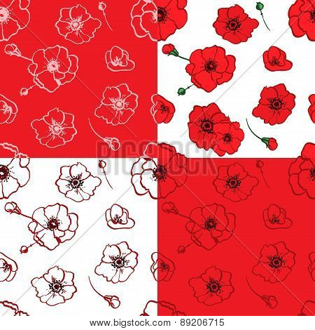 seamless pattern red poppies