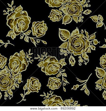 Art Deco floral seamless pattern with roses.