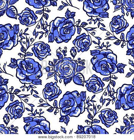 pattern blue rose branch