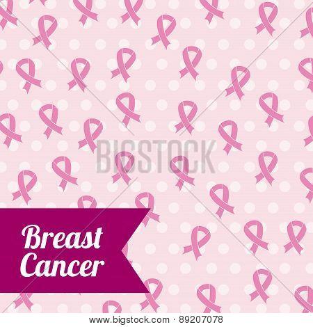 Breast cancer design over pink dotted background vector illustra