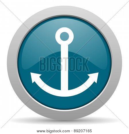 anchor blue glossy web icon