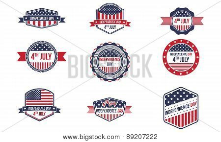 4Th Of July Retro Badges