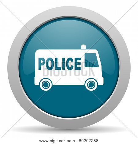police blue glossy web icon