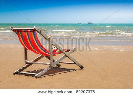 Beach Chair On The Beach With Clear Blue Sky.