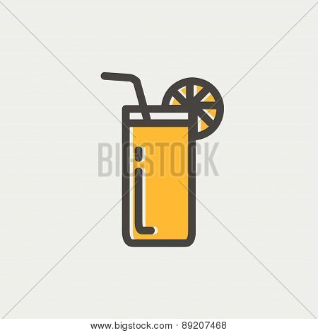 Orange juice glass with drinking straw thin line icon