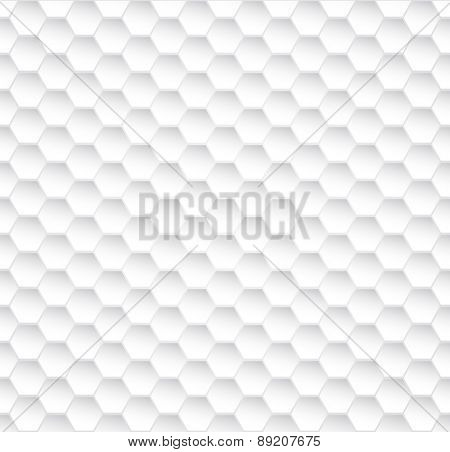 Abstract seamless white honeycomb vector texture.