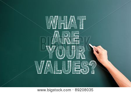 writing what are your values on blackboard