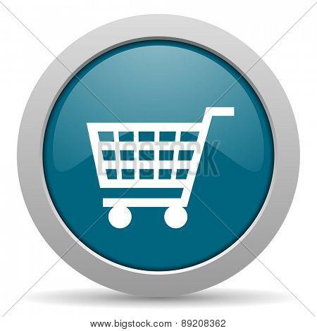 cart blue glossy web icon