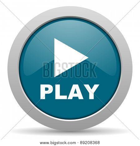 play blue glossy web icon