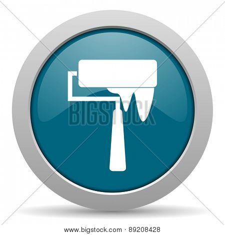 brush blue glossy web icon