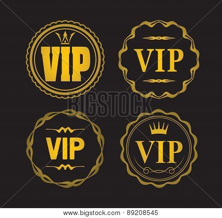 Set Of 4 Vip Designs Isolated On Black.