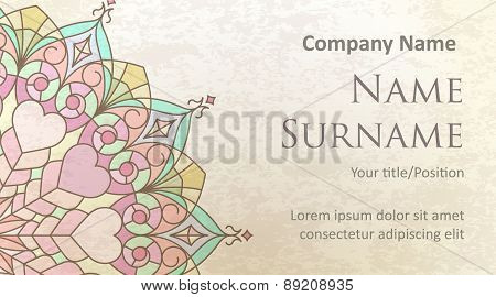 Visit Card Design On Old-style Colored Background With Gentle And Pleasant Colors. Design #2.