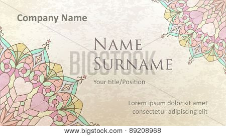Visit Card Design On Old-style Colored Background With Gentle And Pleasant Colors. Design #3.
