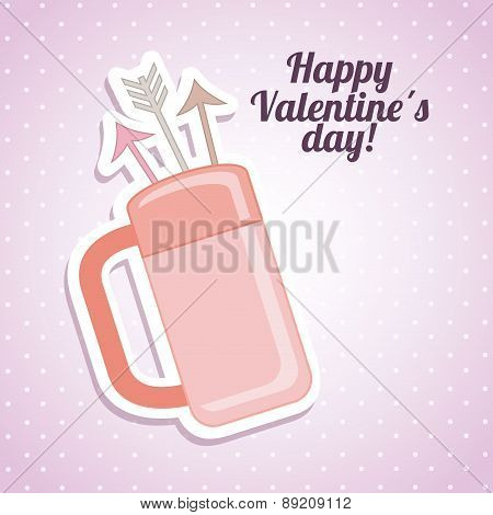 valentines day over dotted purple background vector illustrati