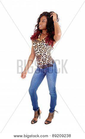Slim Black Woman Dancing.