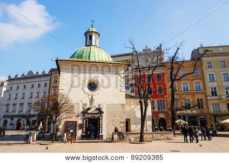 Krakow, Poland - March 07 2015: The Single-nave Building Of Church Of St. Wojciech