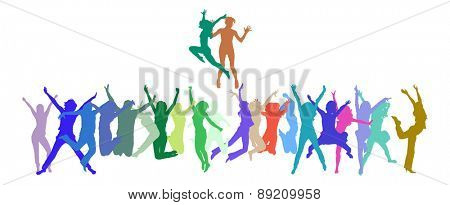 Vector silhouettes of jumping people