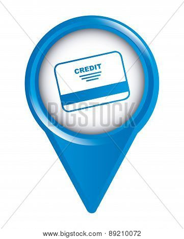 map pointer design with credit card over white background vector