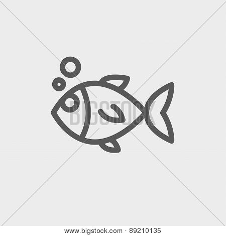 Little fish thin line icon