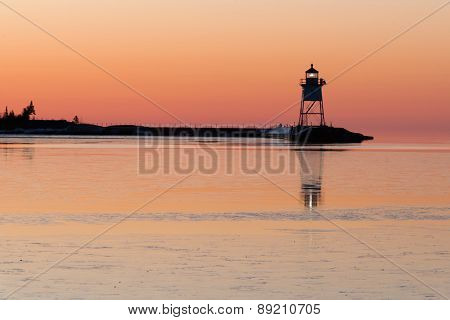 Grand Marais Light Lake Superior Cook County Minnesota Usa