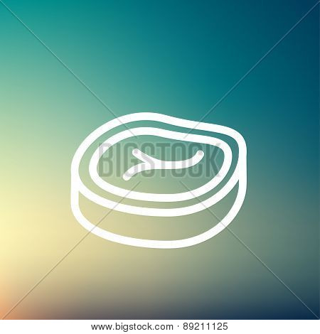 Sliced pork meat thin line icon