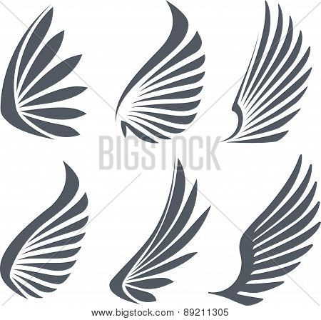 Set Of 6 Vector Wings.