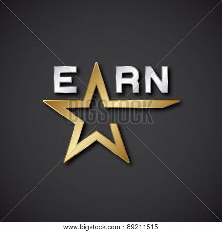 EPS10 vector earn golden star inscription icon