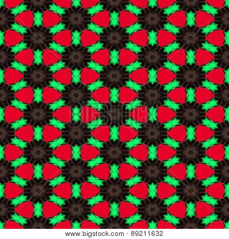 Seamless Abstract Symmetrical Hexagonal Structure Of Black Dots Connected With Red Lines On The Red