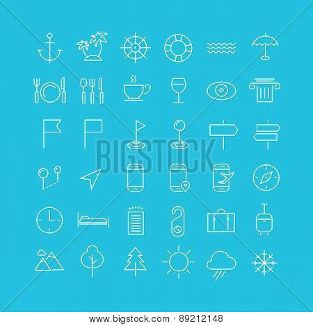 Travel, tourism and weather icons, set 2