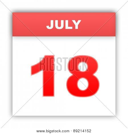 July 18. Day on the calendar. 3d