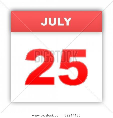 July 25. Day on the calendar. 3d