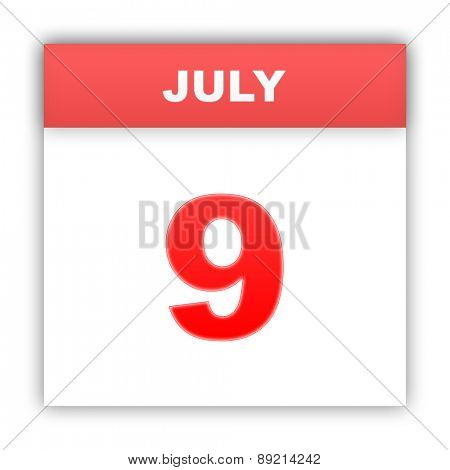 July 9. Day on the calendar. 3d