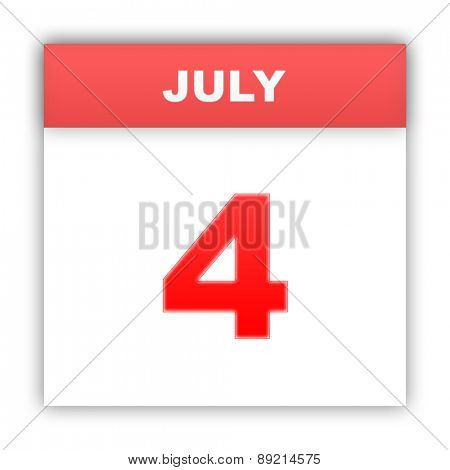 July 4. Day on the calendar. 3d