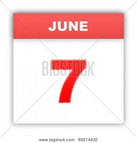 June 7. Day on the calendar. 3d