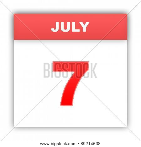 July 7. Day on the calendar. 3d