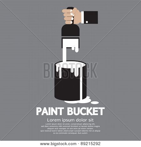 Paint Bucket With Paintbrush In Hand.