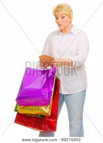 Senior woman with wallet and bags isolated