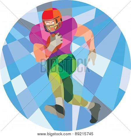 American Football Player Running Low Polygon