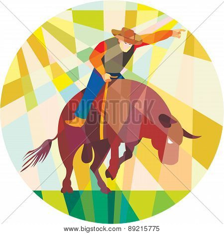 Rodeo Cowboy Bull Riding Pointing Low Polygon