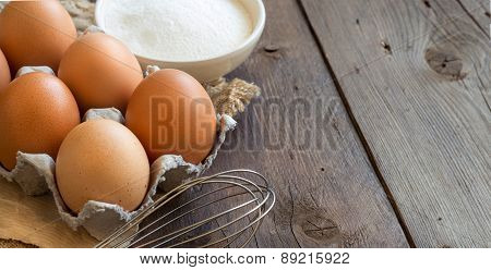 Chicken Eggs, Flour And Whisk