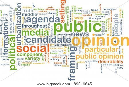 Background concept wordcloud illustration of public opinion